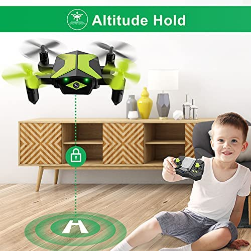 51lAeBTHCsS. AC  - Drone with Camera Drones for Kids Beginners, RC Quadcopter with App FPV Video, Voice Control, Altitude Hold, Headless Mode, Trajectory Flight, Foldable Kids Drone Boys Gifts Girls Toys-Green