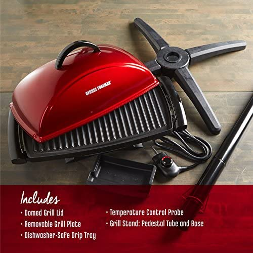 51oTi3fWIRL. AC  - George Foreman 12-Serving Indoor/Outdoor Rectangular Electric Grill, Red, GFO201R