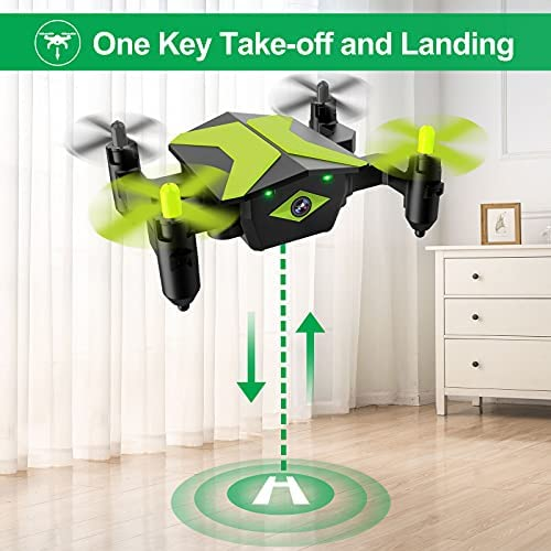 51pUnIcqzfS. AC  - Drone with Camera Drones for Kids Beginners, RC Quadcopter with App FPV Video, Voice Control, Altitude Hold, Headless Mode, Trajectory Flight, Foldable Kids Drone Boys Gifts Girls Toys-Green