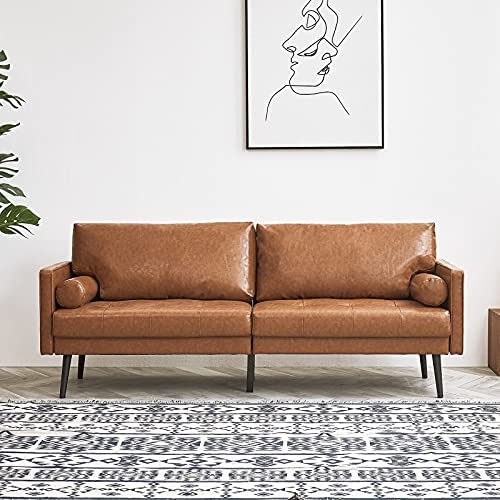 51rEbULKecL. AC  - Vonanda Faux Leather Sofa Couch, Mid-Century 73 Inch 3-Seater Sofa with 2 Bolster Pillows and Hand-Stitched Comfort Cushion for Compact Living Room, Caramel