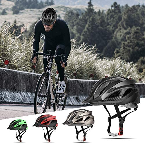 51sncYn9ptL. AC  - RNOX Adult Bike Helmet, Bicycle Cycle Helmet for Adults Men/Women, Adjustable Size Road Cycling Bicycle Helmet with Detachable Visor/Led Rear Light