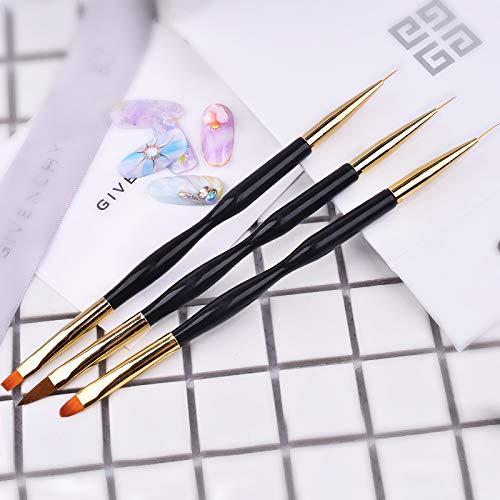 51wRQLizngL - FULINJOY 3 Pcs Nail Drawing Pen, Dual End Nail Art Pen Brush Acrylic Round Flat Painting Drawing Liner Nail Tools