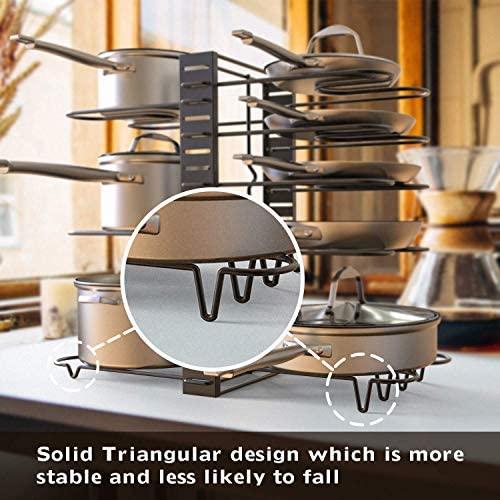 51yoIy7zoKL. AC  - GeekDigg Pot Rack Organizer under Cabinet, 3 DIY Methods, Height and Position are Adjustable 8+ Pots Lid Holder, Black Metal Kitchen Pantry Cookware Organizer (Upgraded Version)