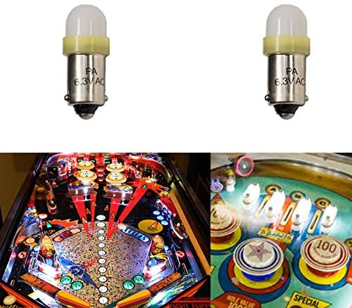 611kZSWobrL. AC  - PA 10PCS #44 #47 ba9s 2 SMD 2835 LED 6.3V DC Bayonet Pinball Gaming Machine Light Bulb Yellow