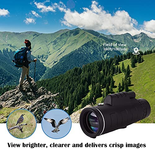 6147SpWw0+S. AC  - Monocular Telescope, 12X50 High Definition BAK4 Prism Monocular with Smartphone Holder & Tripod for Hunting Hiking Traveling Bird Watching