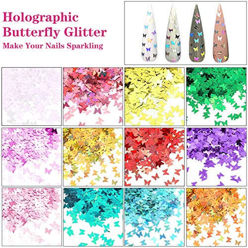 61Sk3jpRrgL - 48 Colors Dried Flowers Nail Art Butterfly Glitter Flake 3D Holographic, Tufusiur Dry Flower Nails Sequins Acrylic Supplies Face Body Gifts for Decoration Accessories & DIY Crafting