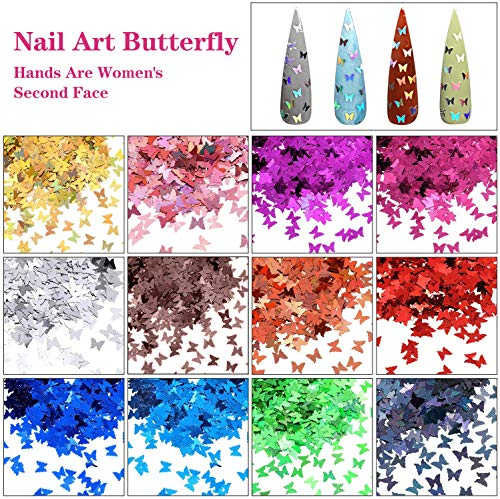 61y+0ON2inL - 48 Colors Dried Flowers Nail Art Butterfly Glitter Flake 3D Holographic, Tufusiur Dry Flower Nails Sequins Acrylic Supplies Face Body Gifts for Decoration Accessories & DIY Crafting