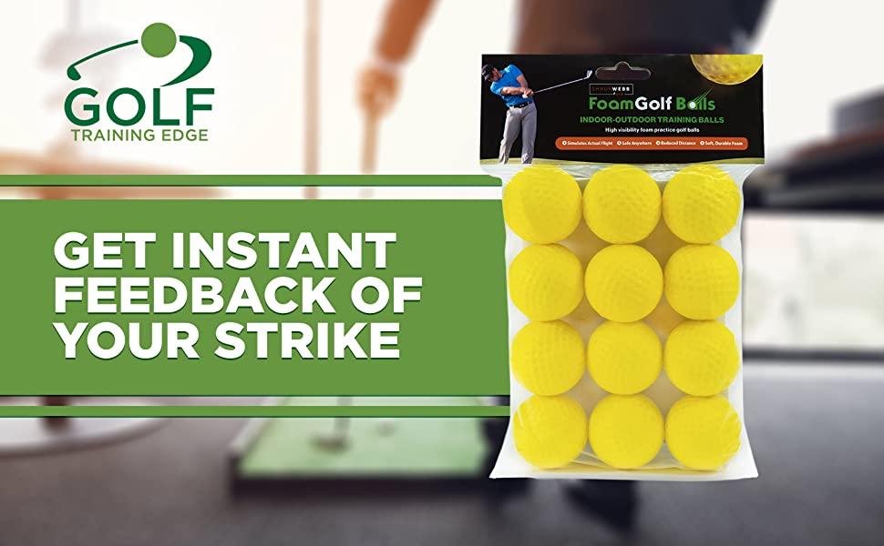 82af1adb 736f 460d 8235 3ae003257b5d.  CR0,0,1500,928 PT0 SX970 V1    - Practice Golf Balls (12 Realistic-Flight Foam Golf Balls) Get Instant Feedback of Your Strike - Perfect for Indoors, Basement & Backyard Golf Practice - Limited Flight