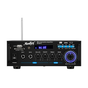 8aaa96a4 5059 40d2 9429 f6e9c86c167e.  CR0,0,300,300 PT0 SX300 V1    - Moukey Bluetooth 5.0 Home Audio Power Stereo Amplifier for Speakers - Portable 2 Channel Stereo Desktop Amp Receiver with FM Radio, MP3/USB/SD Readers, 2 Mic Input, Remote (Peak Power 100W)