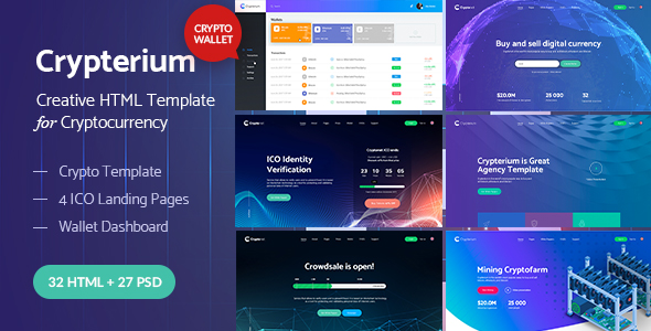 Crypterium HTML main preview - TechLand - SEO Marketing, SAAS Software, App, VPN Landing pages + UI Kit HTML Template