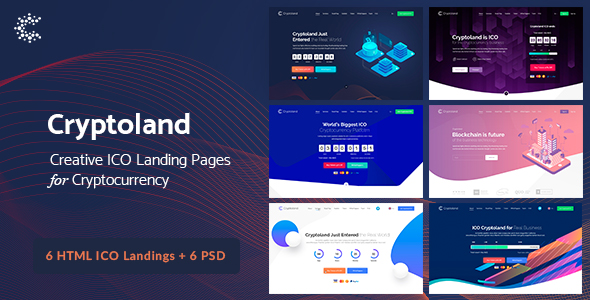 Cryptoland HTML main preview - TechLand - SEO Marketing, SAAS Software, App, VPN Landing pages + UI Kit HTML Template