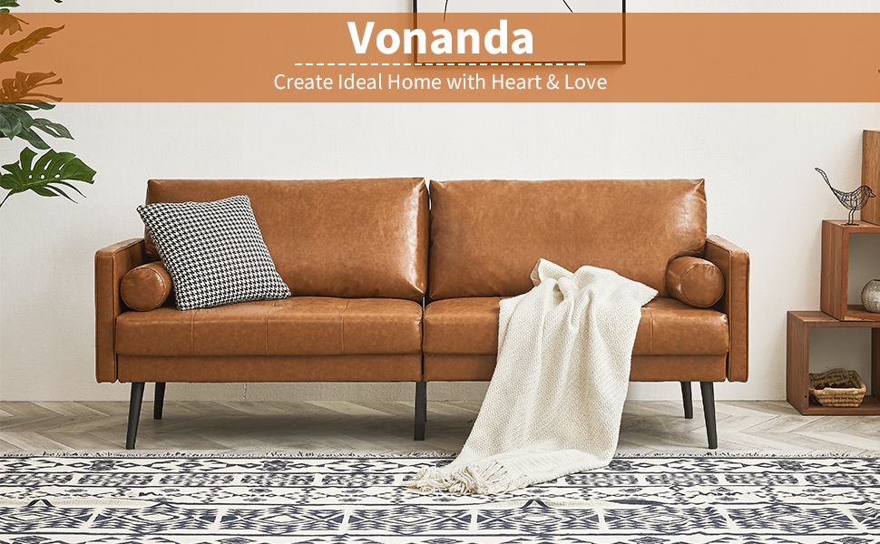 a39d868d ea8d 4cc6 823e 53cd5d3dc17e.  CR0,0,970,600 PT0 SX970 V1    - Vonanda Faux Leather Sofa Couch, Mid-Century 73 Inch 3-Seater Sofa with 2 Bolster Pillows and Hand-Stitched Comfort Cushion for Compact Living Room, Caramel