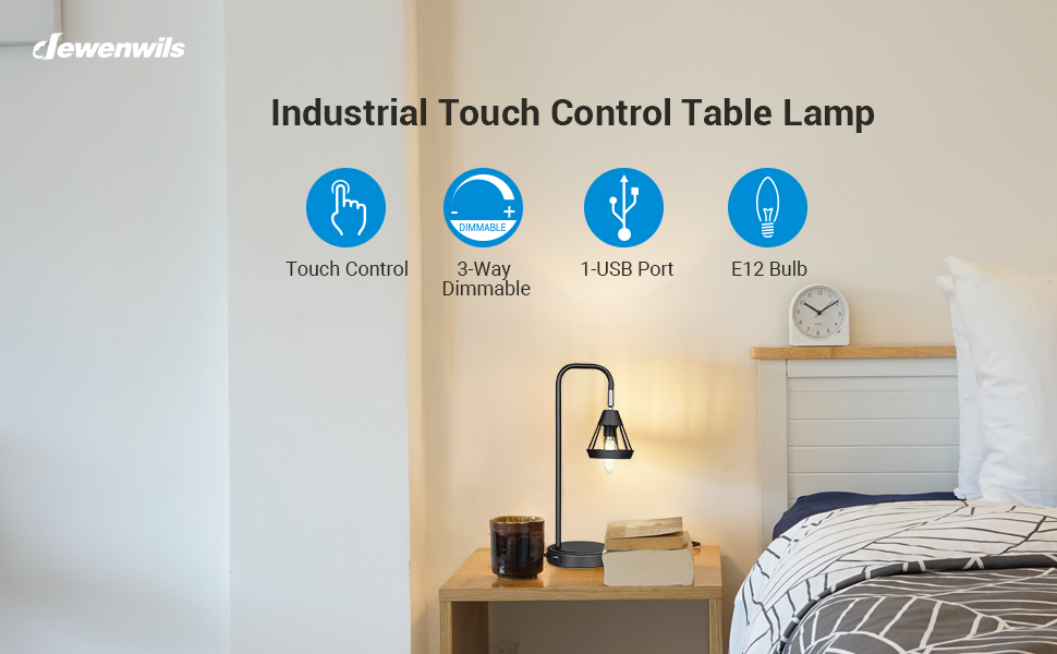 a3df2fcb 4991 448b a539 591b58709789.  CR0,0,970,600 PT0 SX970 V1    - DEWENWILS Industrial Table Lamp with USB Port, 3 Way Dimmable Desk Lamp, Modern Touch Control Bedside Nightsand Lamp for Bedroom, Office, Living Room, 3000K E12 Bulb Included