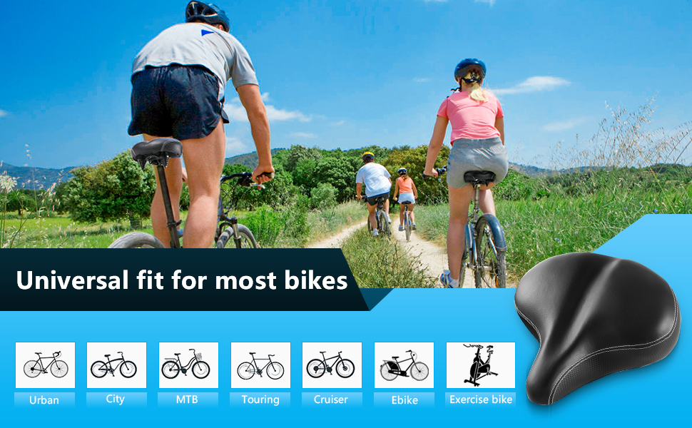 bea9a679 6621 4f35 8038 84d5543da5af.  CR0,0,970,600 PT0 SX970 V1    - Most Comfortable Extra Large Bike Seat - Wide Oversized Bicycle Saddle with Super Thick & Soft Foam Padding and Dual Spring Shock Absorbing Design - Universal Fit for Exercise Bike and Outdoor Bikes