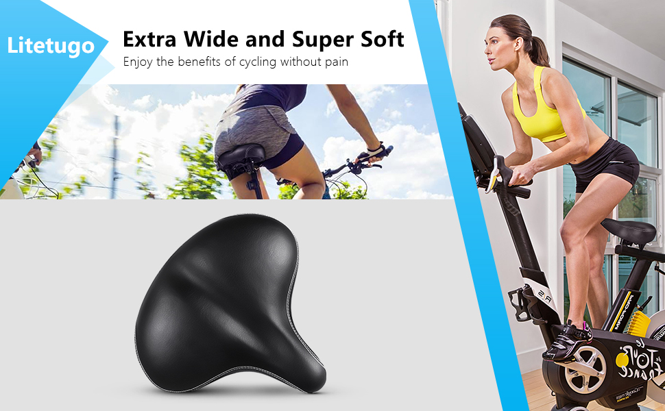 c4f69e38 661f 4efa b4ec a4bde654c4cf.  CR0,0,970,600 PT0 SX970 V1    - Most Comfortable Extra Large Bike Seat - Wide Oversized Bicycle Saddle with Super Thick & Soft Foam Padding and Dual Spring Shock Absorbing Design - Universal Fit for Exercise Bike and Outdoor Bikes