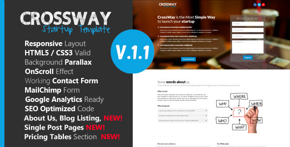 crossway 590x300.  large preview - Crossway - Startup Landing Page Template