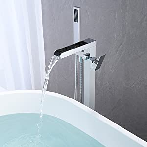d3f4dc7b dc40 416b a1db 7400b3aed6d7.  CR0,0,600,600 PT0 SX300 V1    - Wowkk Freestanding Tub Filler Waterfall Bathtub Faucet Chrome Floor Mount Brass Single Handle Bathroom Faucets with Hand Shower