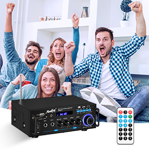 d5a693bf 675a 4cf1 9987 413dea3d7149.  CR0,0,300,300 PT0 SX300 V1    - Moukey Bluetooth 5.0 Home Audio Power Stereo Amplifier for Speakers - Portable 2 Channel Stereo Desktop Amp Receiver with FM Radio, MP3/USB/SD Readers, 2 Mic Input, Remote (Peak Power 100W)