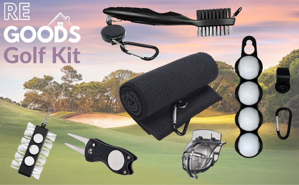 f0db2856 5847 426d 8aa1 8e886f60dc6a.  CR0,0,970,600 PT0 SX970 V1    - RE GOODS Golf Accessories Kit | Microfiber Towel, Ball Holder, Golf Club Brush w/Groove Cleaner, Divot Repair Tool, Ball Stencil, Tee Holder, Putting Markers | Golfer Gift Set for Men and Women