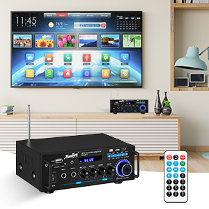 f6ff8036 568d 42e4 babc 6c578743e079.  CR0,0,300,300 PT0 SX300 V1    - Moukey Bluetooth 5.0 Home Audio Power Stereo Amplifier for Speakers - Portable 2 Channel Stereo Desktop Amp Receiver with FM Radio, MP3/USB/SD Readers, 2 Mic Input, Remote (Peak Power 100W)