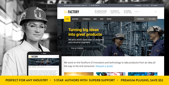 factory card.  large preview - Factory - Industrial Business WordPress Theme