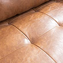 fc074cfd 81b4 41b1 8030 338f084fba3f.  CR0,0,440,440 PT0 SX220 V1    - Vonanda Faux Leather Sofa Couch, Mid-Century 73 Inch 3-Seater Sofa with 2 Bolster Pillows and Hand-Stitched Comfort Cushion for Compact Living Room, Caramel