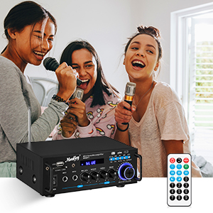 fe0c4f1a 72e0 4763 9fe5 1ab91d1e1ce8.  CR0,0,300,300 PT0 SX300 V1    - Moukey Bluetooth 5.0 Home Audio Power Stereo Amplifier for Speakers - Portable 2 Channel Stereo Desktop Amp Receiver with FM Radio, MP3/USB/SD Readers, 2 Mic Input, Remote (Peak Power 100W)