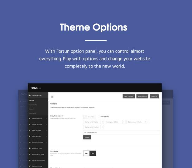 fortun description optionpanel v2 - Fortun   Multi-Concept WordPress Theme