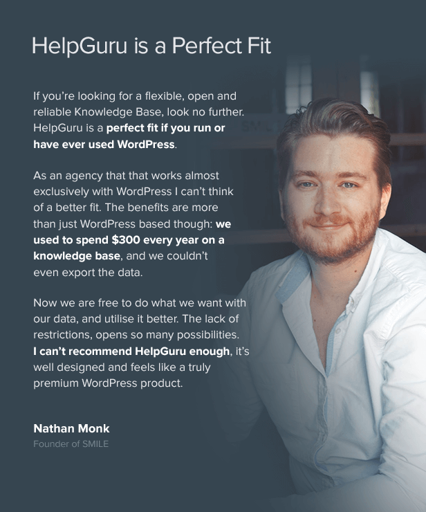 helpguru nathanmonk testimonial - HelpGuru - A Self-Service Knowledge Base WordPress Theme