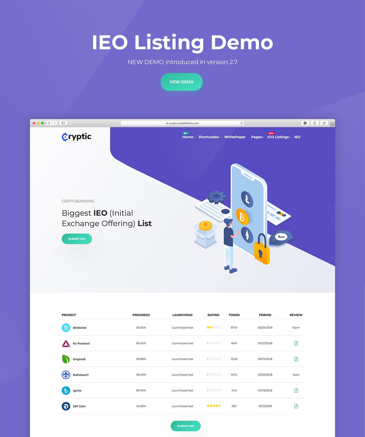 ieo demo - Cryptic - Cryptocurrency WordPress Theme