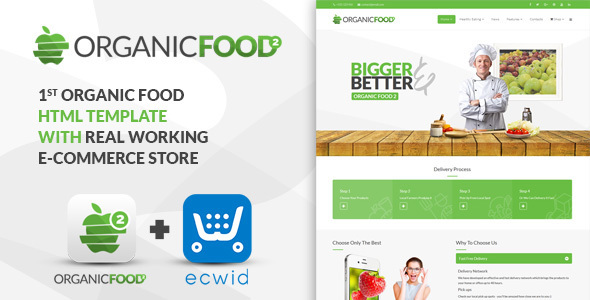 organic html preview.  large preview - Organic Food - Kitchen, Farm, Corporate, Landing Page & E-commerce HTML Template