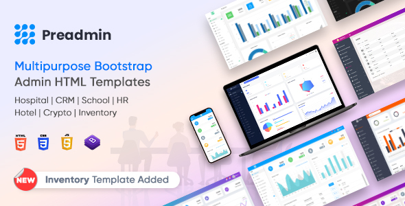 preadmin preview banner.  large preview - Preadmin - Multipurpose Bootstrap Admin HTML Templates HR | CRM | Hospital | School | Crypto | Hotel