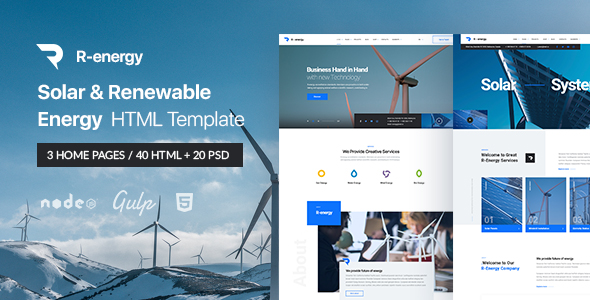 r energy main preview - TechLand - SEO Marketing, SAAS Software, App, VPN Landing pages + UI Kit HTML Template
