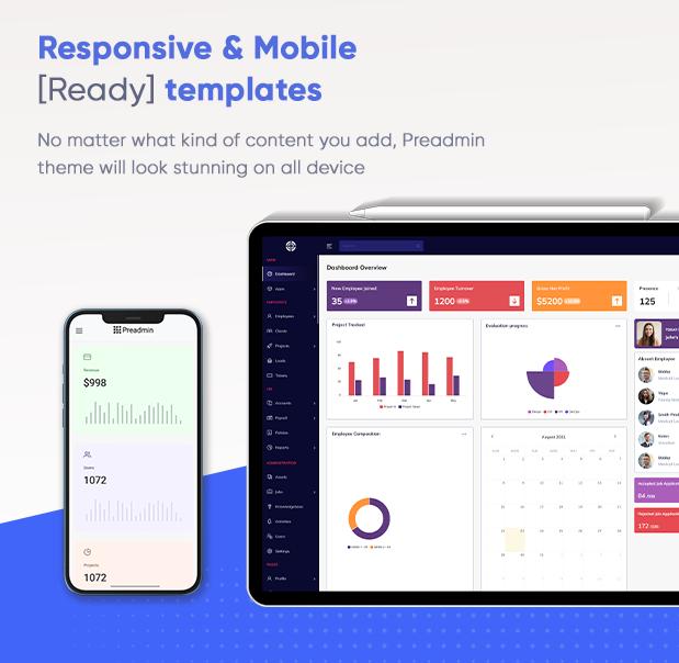 responsive preadmin - Preadmin - Multipurpose Bootstrap Admin HTML Templates HR | CRM | Hospital | School | Crypto | Hotel