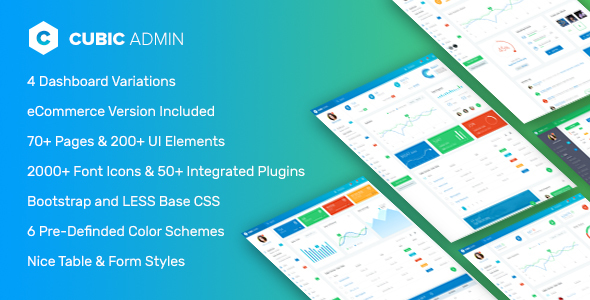 screen1.  large preview - Cubic Admin - Dashboard + UI Kit Framework with Frontend Templates