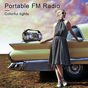 11389e16 2259 4296 a18e 4c0a1ac9efc0.  CR0,0,1000,1000 PT0 SX300 V1    - Bluetooth Speakers, 30W Portable Bluetooth Boombox with Subwoofer, FM Radio, RGB Colorful Lights, EQ, Stereo Sound, Booming Bass, 10H Playtime Wireless Outdoor Speaker for Home, Party, Camping, Travel