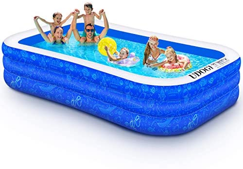 """1633546653 51kuba8BvHL. AC  - Family Inflatable Swimming Pool, 118"""" X 72"""" X 22"""" Full-Sized Inflatable Kiddie Pool Thick Wear-Resistant Lounge Pools Above Ground for Baby, Kids, Adults, Toddlers, Outdoor, Garden, Backyard"""