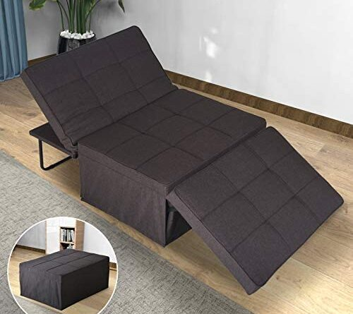 1633936455 51hzw1 UuvL. AC  500x445 - Sofa Bed, Sleeper Chair Bed, 4 in 1 Multi-Function Convertible Chair, Folding Ottoman Guest Bed with 5-Level Adjustable Backrest, Brown