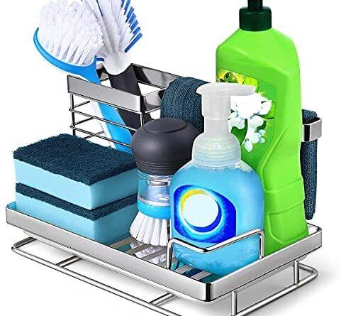 1634066377 51aUZ2kQlEL. AC  481x445 - Kitchen Sink Caddy Sponge Holder: Rust Proof Kitchen Sink Organizer for Dish Rag Soap Brush - Sponge Holder with Drain Tray for Counter
