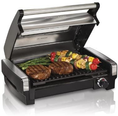1634196616 41tAt4MCW2L. AC  - Hamilton Beach Electric Indoor Searing Grill with Viewing Window and Removable Easy-to-Clean Nonstick Plate, 6-Serving, Extra-Large Drip Tray, Stainless Steel (25361)