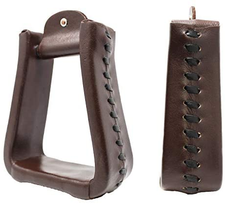"""1634283929 41ts2dBnKNL. AC  - CHALLENGER Horse Western Brown Leather Covered 5"""" Wide 5.5"""" Tall Bell Saddle Stirrups 51176BR"""
