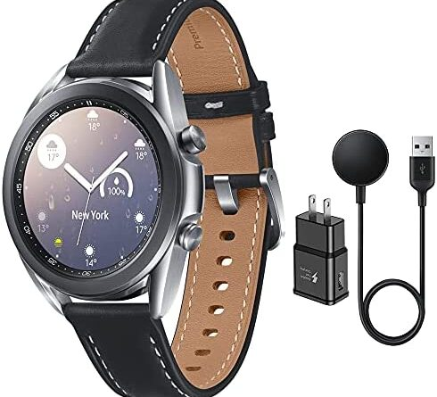1634544231 51rtlHOXzCS. AC  490x445 - Samsung Galaxy Watch 3 Stainless Steel (41mm) SpO2 Oxygen, Sleep, GPS Sports + Fitness Smartwatch, IP68 Water Resistant, International Model - No S Pay SM-R850 (Fast Charge Cube Bundle, Silver)