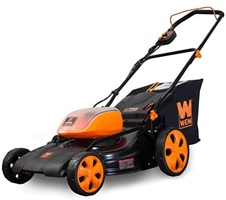 1635023528 41eJQJfJpYL. AC  - WEN 40439BT Lithium 16-Gallon Bag 40V Max Li-Ion 19-Inch Cordless 3-in-1 Lawn Mower (Tool Only), Black