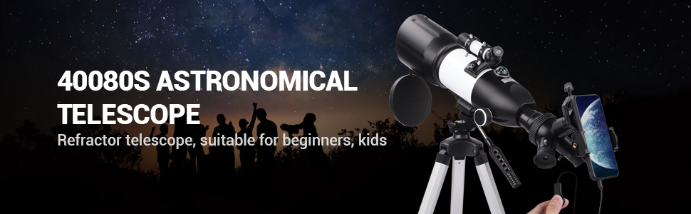 163aeada f18e 4592 a708 47b8312f0d5a.  CR0,0,970,300 PT0 SX970 V1    - Telescope 80mm Large Aperture for Astronomy Beginners, Adults and Kids, 3 Rotatable Eyepieces Refractor Telescope 400mm/80mm Good Partner to View Moon Landscape and Planet, with Tripod, Phone Adapter