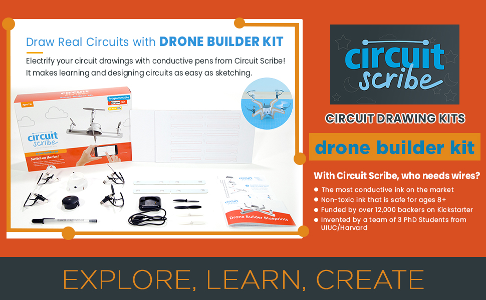 1b3920ac 1bb7 4278 b68d cd9151d9d3d5.  CR0,0,970,600 PT0 SX970 V1    - Circuit Scribe Drone Builder Kit for Kids   Build Your Own Drone with Camera   With Conductive Ink Pen, Motors, Propellers, Free iOS/Android Controller App, Battery-Operated Drone Hub