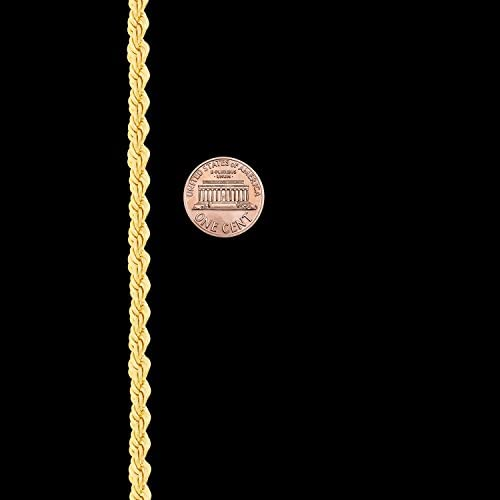 31KSrCmCziL. AC  - LIFETIME JEWELRY 5mm Rope Chain Necklace 24k Real Gold Plated for Men Women Teen