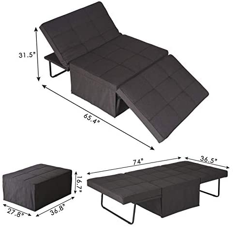 418 IxYsMWL. AC  - Sofa Bed, Sleeper Chair Bed, 4 in 1 Multi-Function Convertible Chair, Folding Ottoman Guest Bed with 5-Level Adjustable Backrest, Brown