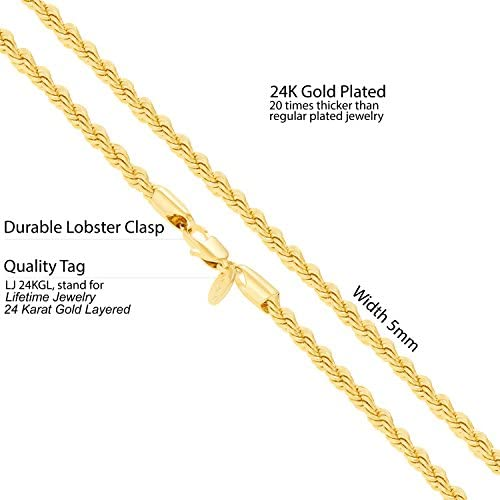 41Nhzs6bmwL. AC  - LIFETIME JEWELRY 5mm Rope Chain Necklace 24k Real Gold Plated for Men Women Teen