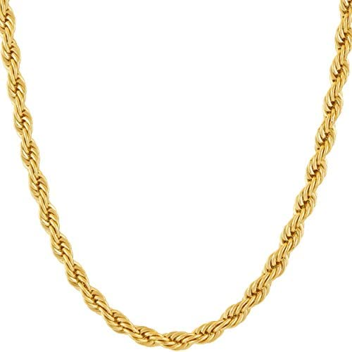 41SOtLGsC+L. AC  - LIFETIME JEWELRY 5mm Rope Chain Necklace 24k Real Gold Plated for Men Women Teen