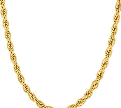 41SOtLGsCL. AC  500x445 - LIFETIME JEWELRY 5mm Rope Chain Necklace 24k Real Gold Plated for Men Women Teen